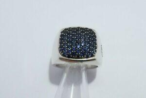 David Yurman Sterling silver Pave Sapphire  Signet  Ring size 9
