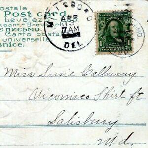 Millsboro Delaware Postmark 1911 to Salisbury MD Susie Callaway Postcard MJ