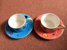 WHITTARD PAIR OF CUPS AND SAUCERS IN GIFT BOX ONE BLUE ONE ORANGE HEARTS FLOWERS