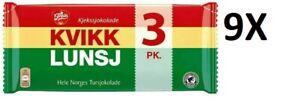 Kvikk Lunsj Freia Norwegian Chocolate 9X3 Traditional Waffle Snack Bars Blocks