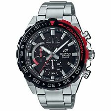 Casio Edifice Quartz Black Dial Silver Oyster Steel Chrono Mens Watch EFR-566DB