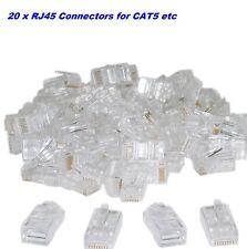 RJ45 Connector Network LAN CAT5e Cable End Plug x 20 Internet Servers CAT5