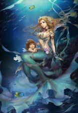 Home Wall Decor Fantasy Mermaid Royalty Oil Painting Picture Printed On Canvas