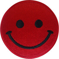 Red Smiley Face Patch Iron On Sew On T Shirt Jeans Dress Skirt Embroidered Badge