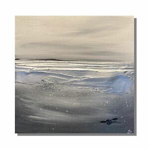 Original art textured abstract seascape canvas - Greys/Silver Kerry Bower art