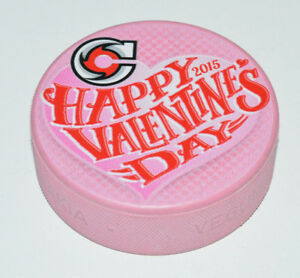 CINCINNATI CYCLONES Happy Valentine's Day 2015 ECHL PINK COLORED PUCK 2-Sided