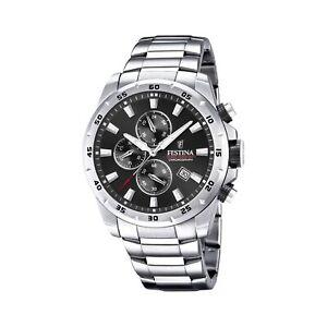 Festina F20463-4 Men's Chronograph Black Dial Silver Tone Bracelet Wristwatch