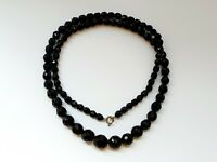 "Art Deco 1930s 24.5"" Black French Jet Faceted Beaded Necklace"