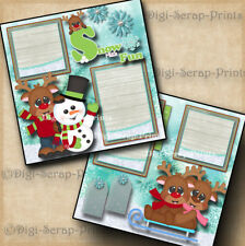 WINTER SNOW ~ 2 premade scrapbook pages paper piecing SLEDDING SNOWMAN DIGISCRAP