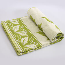 "Green Terry Sheet Cotton Blanket Throw 82x79"" Made in Belarus 100% Cotton"