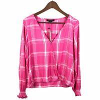 Sanctuary Womens Cori Surplice Blouse Size XS Pink White Plaid Long Sleeve Top