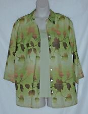 ALFRED DUNNER – TWIN SET - BLOUSE & TANK TOP – GREEN - LEAF – SIZE 16 W –NWT $54