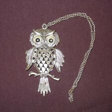 """Vintage Owl Pendent Necklace 4"""" Plastic Color Silver Googly Eyes Toy Girls"""