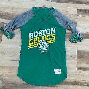 Boston Celtics Womens T Shirt Mitchell & Ness Roll Tab Sleeves Size Small