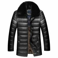 Winter Men's Thick Fur Collar Leather Jacket Quilted Fleece Lined Outwear Coat