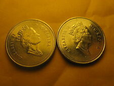 RARE2 VARIETIES CANADA 2000 5 CENT COINS P MARK & NO P