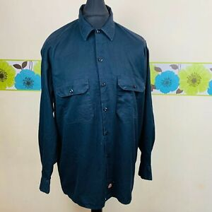 MENS XL DICKIES WORKWEAR BLACK BUTTON UP LONG SLEEVED CASUAL WORK SHIRT