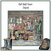 Handmade Personalised Get Well Soon Card Gardening Garden Allotment Shed Spade