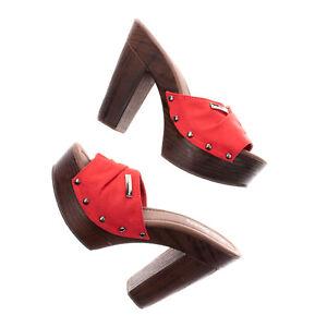 RRP€125 PIERRE CARDIN Clog Sandals EU 38 UK 5 US 8 Suede Effect Studded Platform