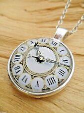 Roman Numerals Clock Print Glass Cabochon Pendant Necklace Gold/White/Silver NEW
