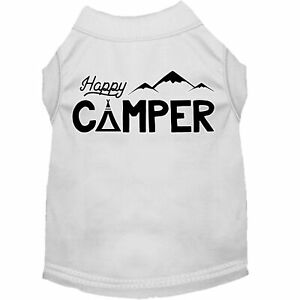 Mirage Pet Products Happy Camper Screen Print Dog Shirt White Lg (14)