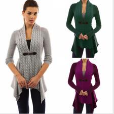 New Women Buckle Cardigan Knitwear Warm Sweaters Long Sleeve Casual Slim Outwear
