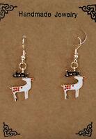 White Enamel Reindeer Dangle Earrings Womens Fashion Costume Jewellery Christmas