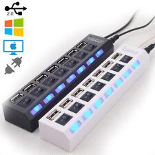 7Port USB Hub High Speed Multi Splitter Expansion Power Adapter For PC Laptop UK