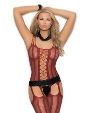Sexy Burgundy Red Bodystocking Bodysuit Super Strappy Suspender Women Lingerie