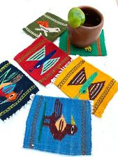 Zapotec Oaxacan Hand Woven Colorful Wool Tapestry Rug Set of 6 Animals Coasters