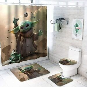 Baby Yoda Star Wars Shower Curtains Bathroom Rugs Set 4PCS Toilet Lid Cover Mats