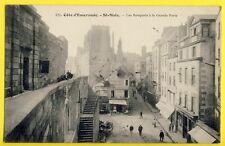cpa Rare SAINT MALO en 1921 (Ille et Vilaine) Les REMPARTS à la Grande PORTE