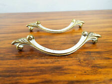 Vtg French Metal Decorative Nouveau Brass Drawer Pull Cabinet Handle Hardware