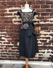Tadashi Collection sz 8 Black & Gold Lace Sequin Bow Cocktail Formal Tea Dress
