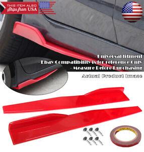 "29"" Red Side Skirt Splitter Winglet Wing Canard Diffuser For Subaru Mazda ...."