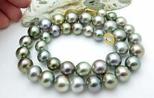 "EXQUISITE AAA TAHITIAN 9.9-13mm MULTI PEACOCK CULTURED PEARL NECKLACE 18.5"" RARE"