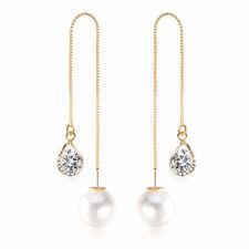 Crystal Gold Plated Dangle Earrings Pearl Long Chain Water Drop Shape