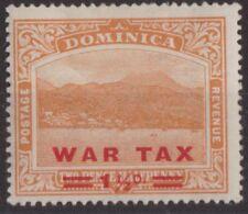 b335) Dominica. 1919. MM. SG 59 1 1/2d on  2 1/2d Orange. War Tax