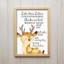 Bild Lebe Dein Leben Kunstdruck DIN A4 Hirsch Spruch Tiere Kinderzimmer Deko