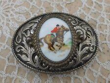 Vintage Silver Plated Porcelain Belt Buckle Equestrian Horse Racing Jockey