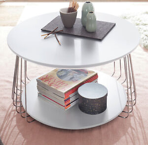 Couchtisch Wohnzimmer Tisch weiß Lack und Chrom Beistelltisch rund 70 cm Vilnius