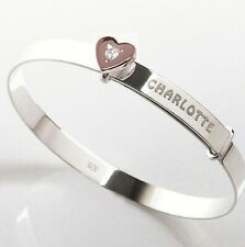 Personalised Silver Baby Bangle Christening Birthday Bracelet Rose Gold CZ Heart