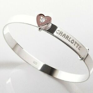 Personalised Silver Baby Bangle Christening Birthday Bracelet Rose Gold CZ Heart