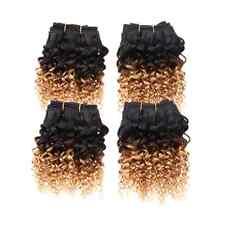 "4 Bundles 8"" 6A Virgin Brazilian 2 Tone Ombre Kinky Curly Human Hair Extensions"