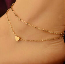 Women Heart Design Gold Chain Anklet Ankle Bracelet Barefoot Jewelry Bangle