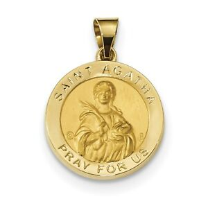 14k Yellow Gold Saint Agatha Pray For Us Words on Round Medal Pendant 19mm