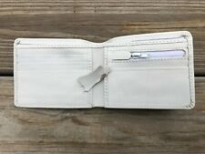 Men White Wallet Genuine Real Leather Card Holder Handmade Bifold Purse