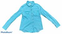 Woman's J.CREW Blue Button -Down Shirt Top Blouse Long Sleeve Size Medium M