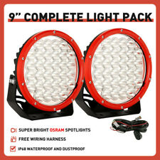 NEW Pair 9 inch OSRAM Round LED Driving Lights Spot RED OffRoad Truck Headlights