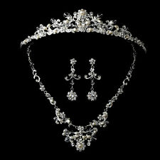 Elegant Silver Crystal Pearl Couture Wedding Bridal Tiara Necklace Jewelry Set